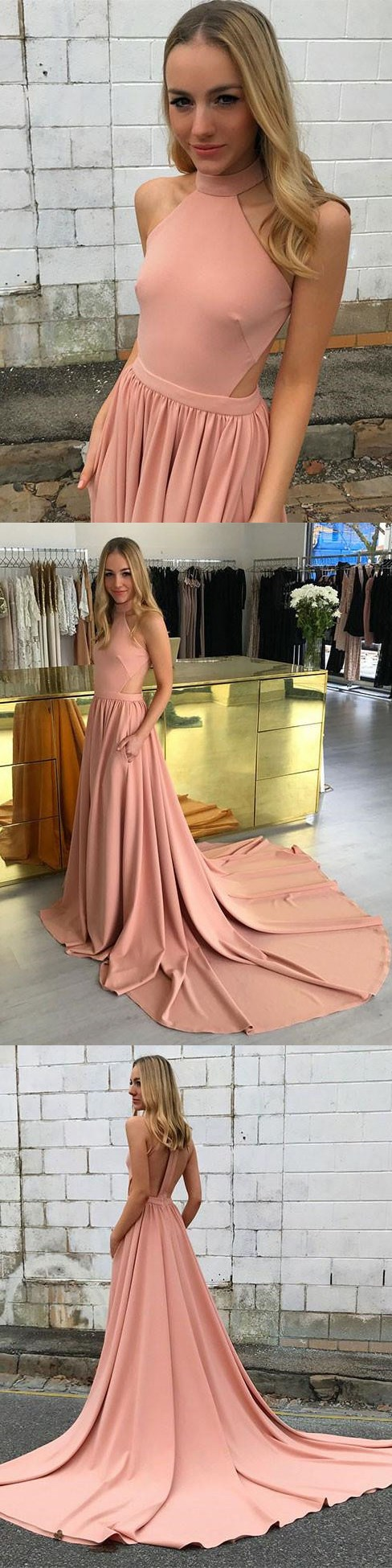 Elegant High Neck Coral Long Prom Dress with Train
