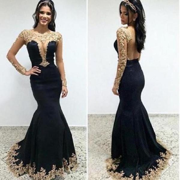 LONG SLEEVES MERMAID GOLD LACE BLACK EVENING GOWNS LONG PROM DRESSES BACKLESS DEEP V NECK