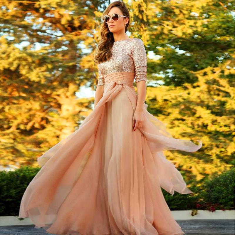 Gorgeous Full Sleeve Muslim Prom Dresses Sequin Chiffon Champagne Long Prom Dresses