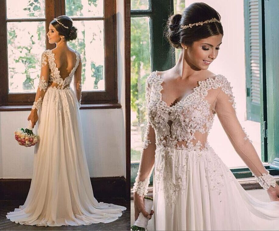 Beach Casual Long Sleeve Lace Appliqued Beading Backless Sexy Bohemian Wedding Dress