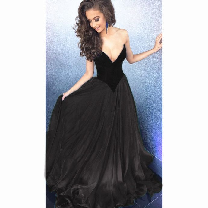 V-neck Black Organza Prom Dresses, Black Prom Dresses, A-line Cheap Prom Dresses