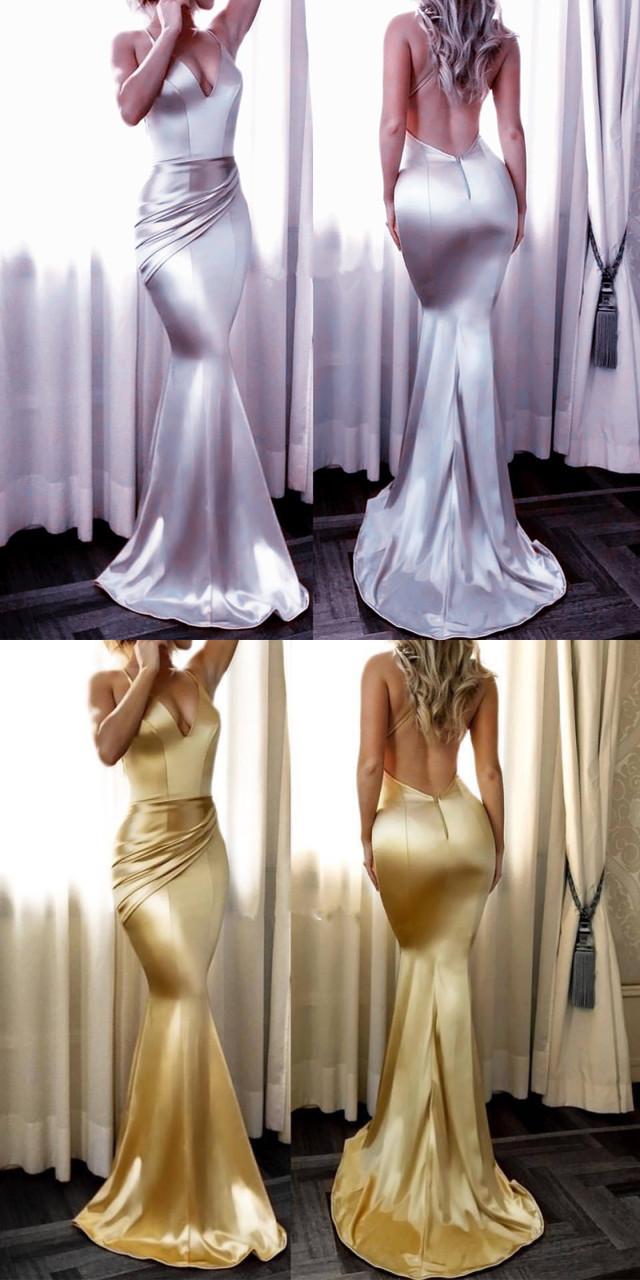 Charming Silver and Golden Mermaid Spaghetti Straps Open Back Stretch Satin Long Prom Dress