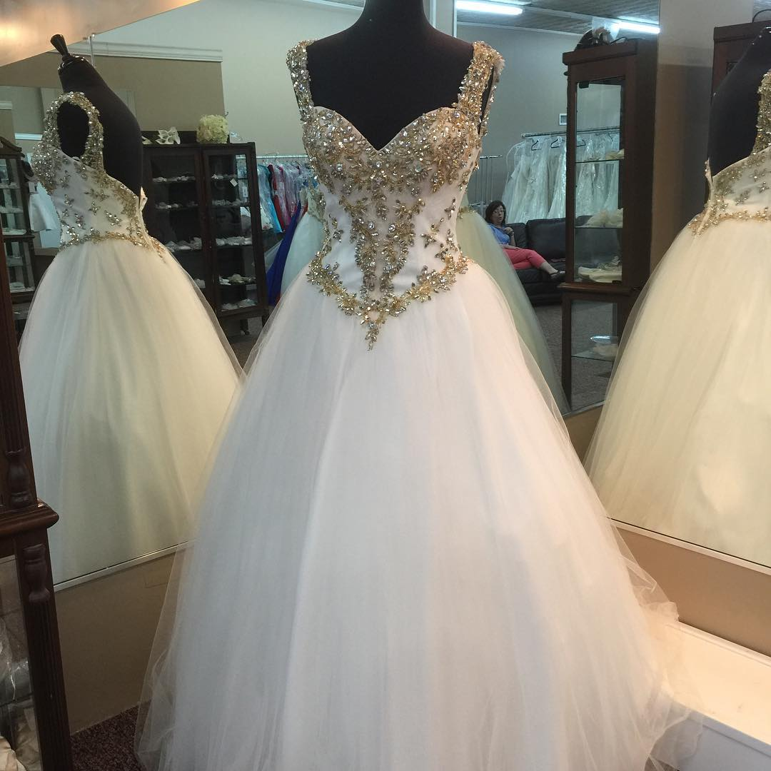 Gold beading sweetheart white organza ball gowns prom dresses 2017 quinceanera gowns