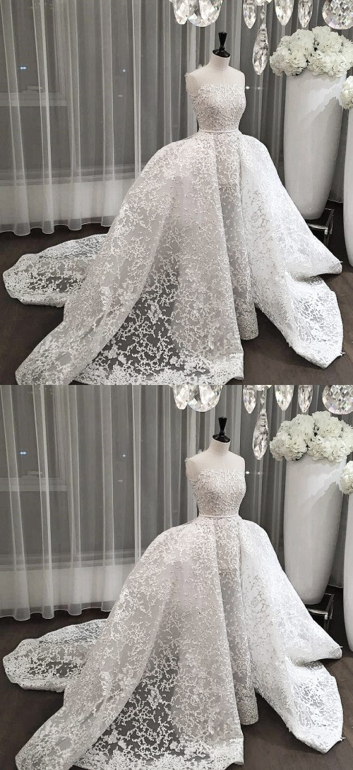 Lace Wedding Dress, Strapless Wedding Dress, Wedding Dresses 2018, Elegant Wedding Dress, Mermaid Wedding Dress, Luxury Wedding Dress, Applique Wedding Dress