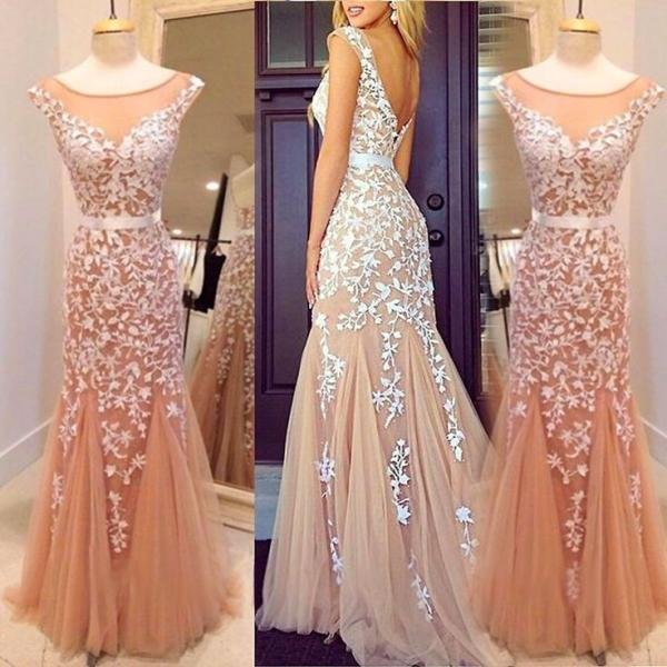 Charming Applique Mermaid Cap Sleeve V Back Long Evening Prom Dress