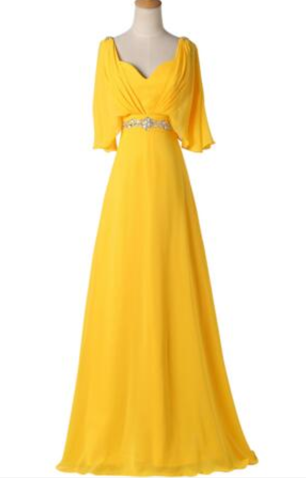 Yellow long dress beaded waist waist length prom dress cloak elegant feminine evening dress