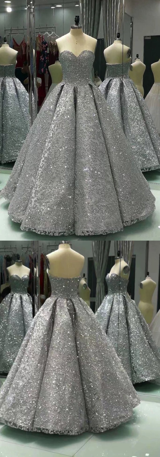 Sweetheart gray sleeveless long sequins ball gown, shiny winter formal prom dresses