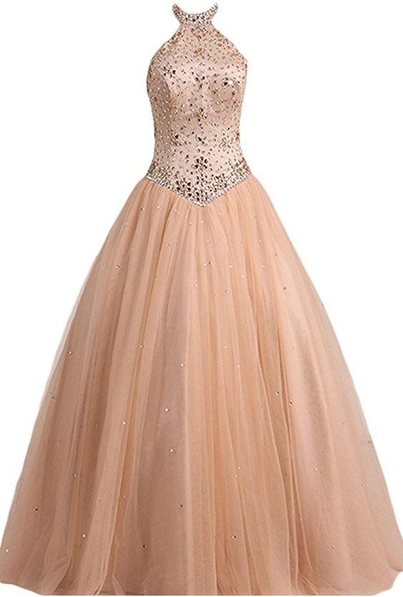 Ball, high neck, tulle, with beads, long prom dress, high quality gown dress, formal dress, wedding dress