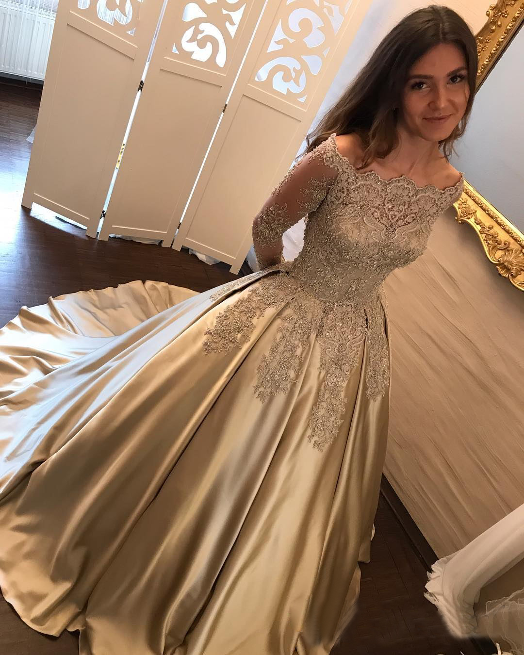 28ed0703ea94 Princess A-Line Off-Shoulder Long Sleeves Ball Gown Long Prom/Wedding Dress