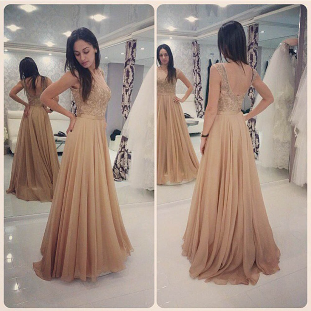 b56f2f11a99 Glamorous Long Champagne Lace Prom Dresses Party Evening Gown Beaded  Chiffon Appliques Open Back Prom Dresses