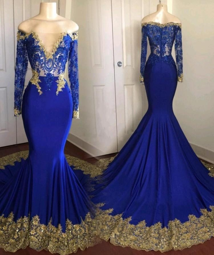 2018 New Royal Blue Long Sleeve Mermaid Prom Dresses Off the Shoulder Lace Appliques Court Train Party Dress Gowns