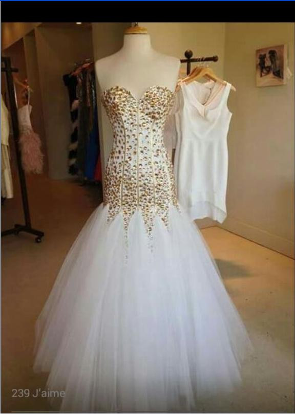 Top Quality Sweetheart Mermaid Evening Party Gowns White Tulle Skirt Long Party Dress Graduation Gowns with Gold Crystals Custom Made Dress lace up back