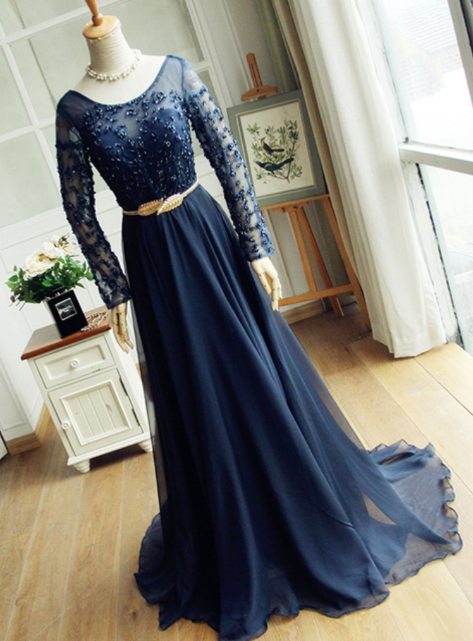 Navy blue dress lace gown long-sleeved blouse Beading pearl chiffon gown 10108