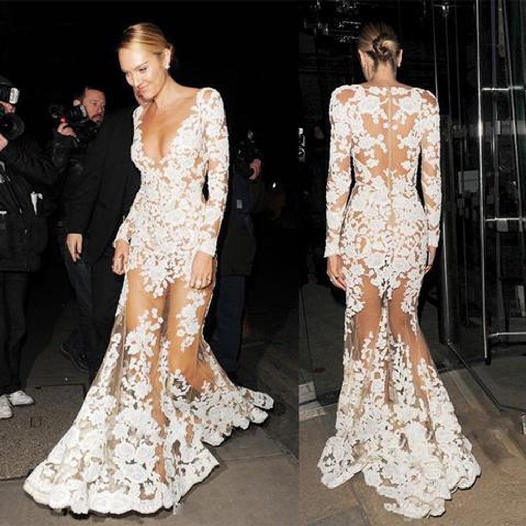 Celebrity Inspired See Through Deep V-neck Long Sleeve Mermaid Lace Prom Dresses 10037