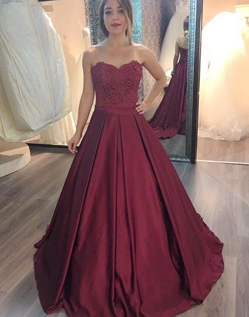 Burgundy lace long prom gown, burgundy evening dress 10705