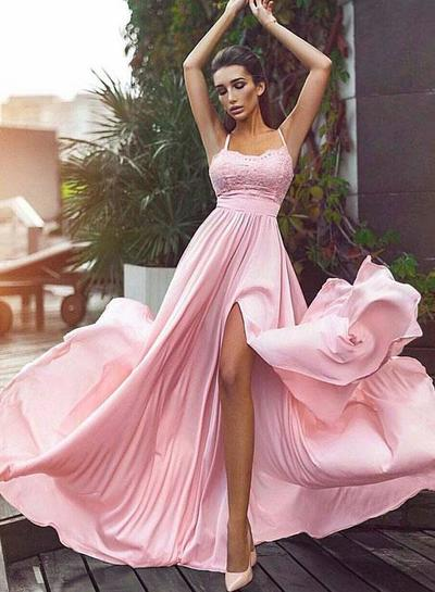 Sweet A-Line Spaghetti Straps Pink Chiffon Long Prom Dress with Split Front 10712