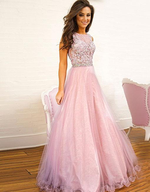 Pink lace tulle long prom dress, pink evening dress 10714