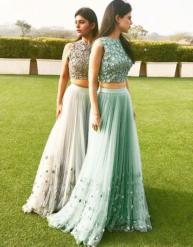 Elegant A-line tulle two pieces long prom dress. tulle formal dress 10717