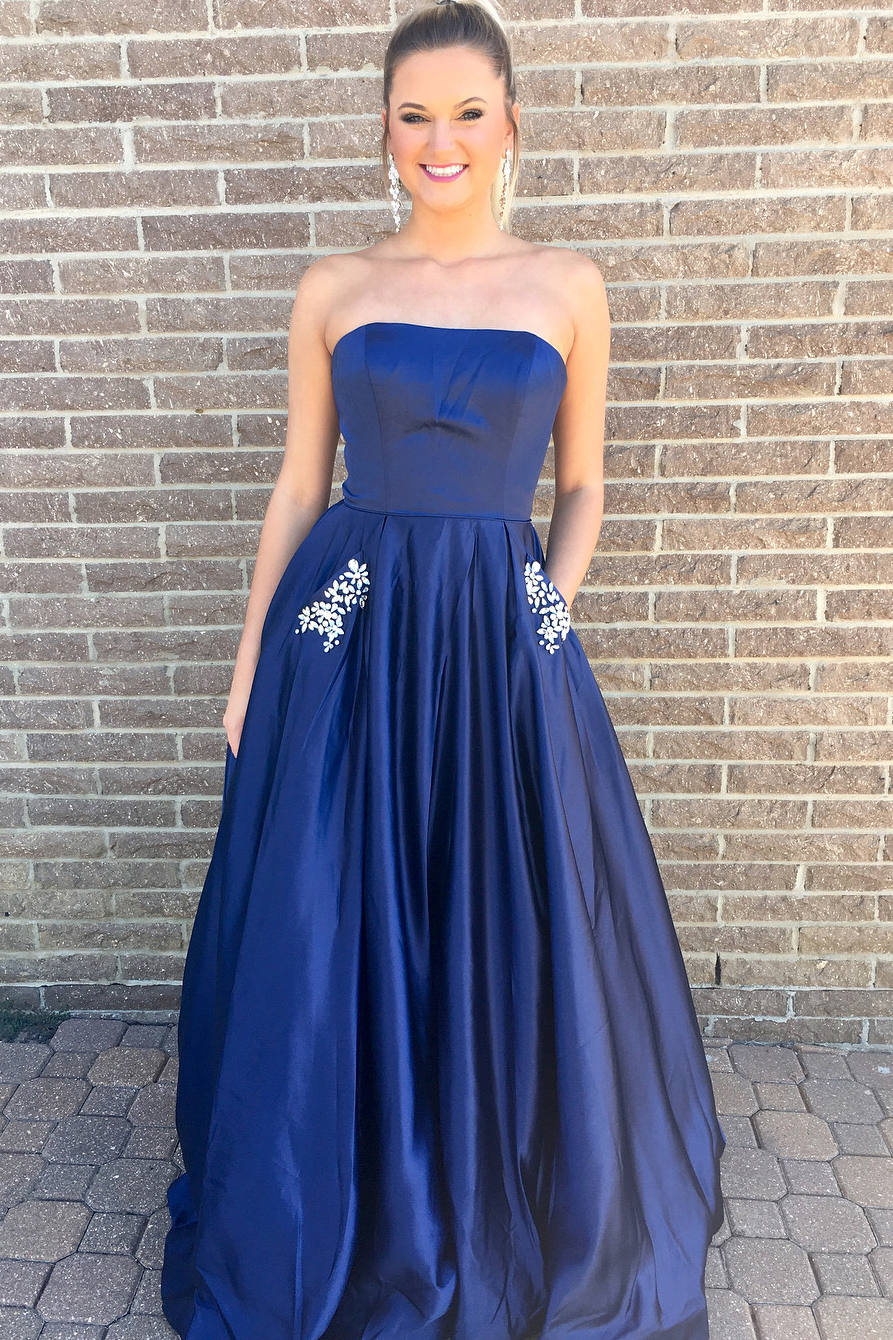 4f1dfa95c75f Princess Strapless Navy Blue Long Prom Dress With Pockets on Luulla