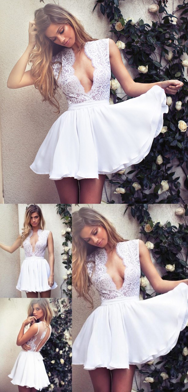 Short Prom Dress,Lace Homecoming Dress,Short Homecoming Dress,Deep V neck Prom Dress,Sexy Party Dress,Cocktail Dresses