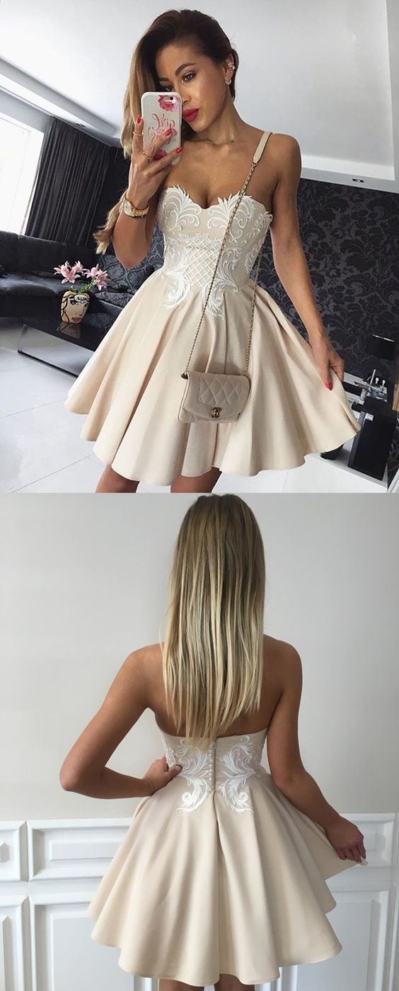 Homecoming dresses,beige homecoming dresses,sweetheart homecoming dresses,short party dresses