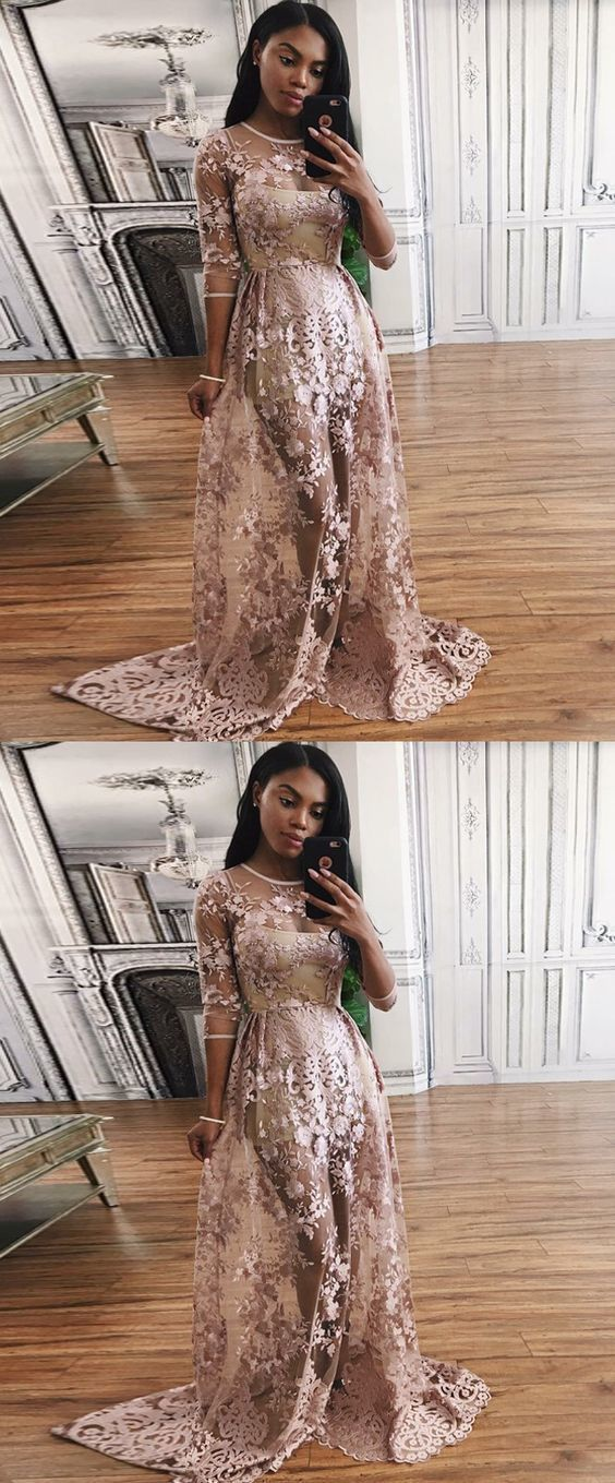 A-Line Round Neck Lace Prom Dress with Appliques,Cheap Prom Dresses, Formal Women Dress