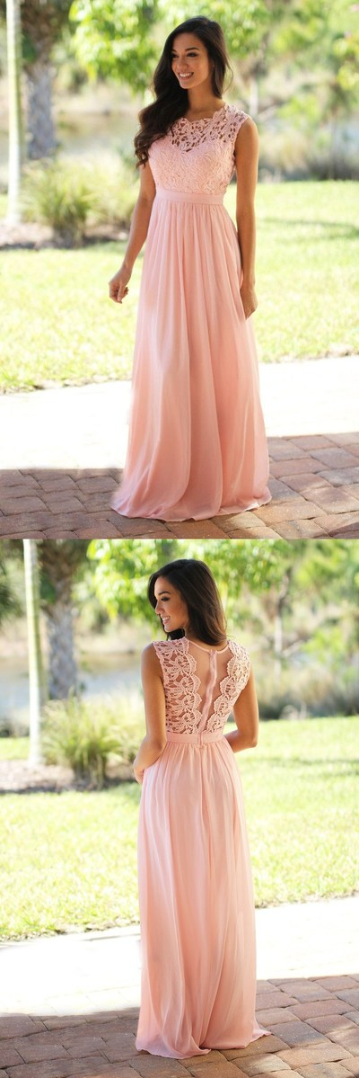 Custom long chiffon Bridesmaid Dress,Sleeveless Bridesmaid Dress ,Pink Lace See THrough Bridesmaid Dress