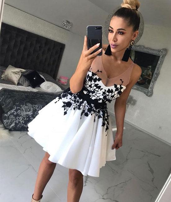 White v neck lace applique short prom dress, white homecoming dress