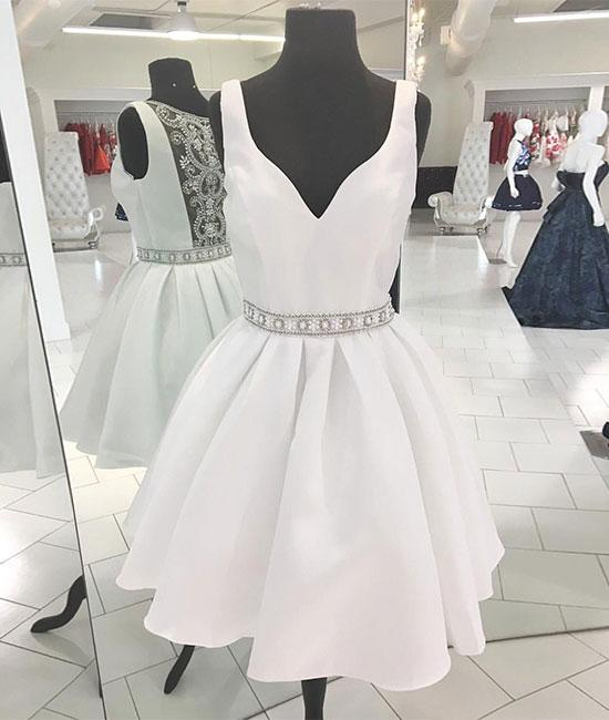 White v neck beads short prom dress, white homecoming dress