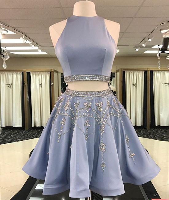 Blue two pieces beads sequin short prom dress, homecoming dress