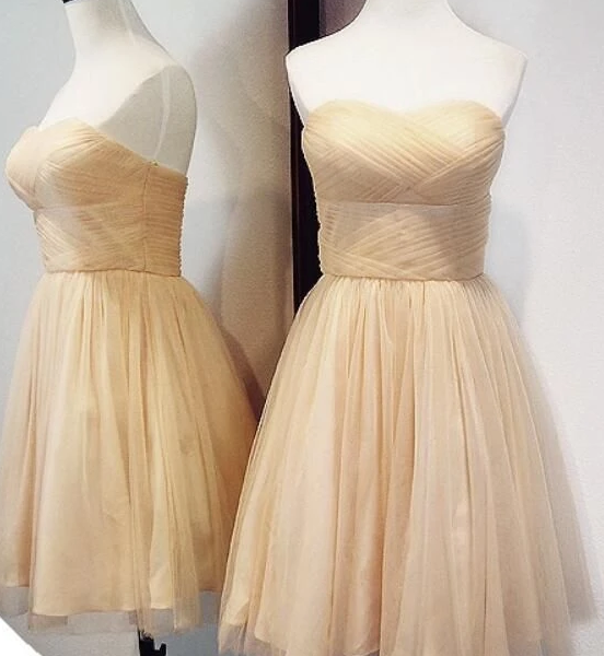 Champagne Tulle Short Homecoming Dresses, Tulle Party Dresses,PL1890