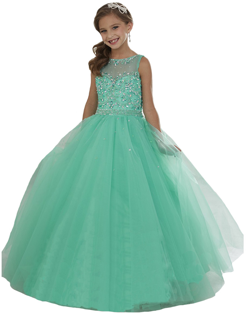 mint crystal beading girls pageant dresses long tulle flower girls christmas dress party ball gowns girl first communion dresses size 2 14 - Girl Christmas Dresses