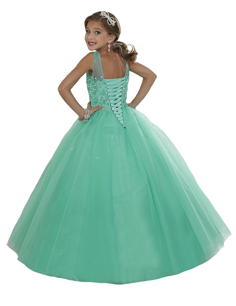 Mint Crystal Beading Girls Pageant Dresses Long Tulle Flower Girls ...