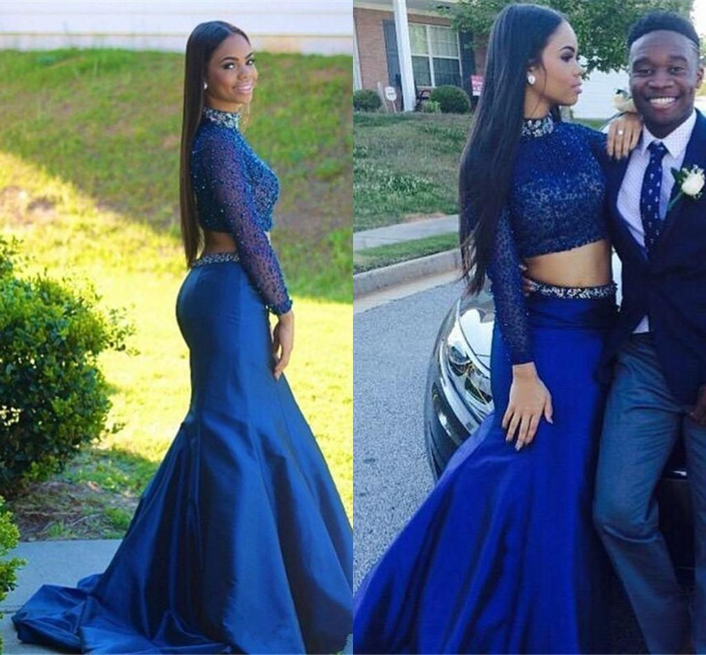 f96d95800fc Sexy Girl Mermaid Prom Dress Two Piece 2016 High Neck Beaded Navy Blue  Mermaid Sweep Train