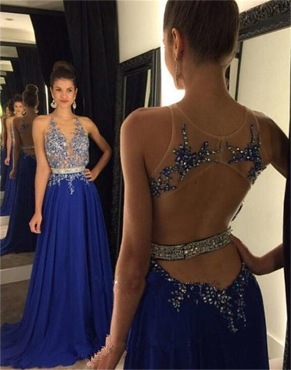 Chiffon Backless Prom Dresses 2016 New Royal Blue Prom Dress Backless Sparkly Chiffon Party Dresses With Rhinestones Chiffon Beaded Party Cocktail Dresses