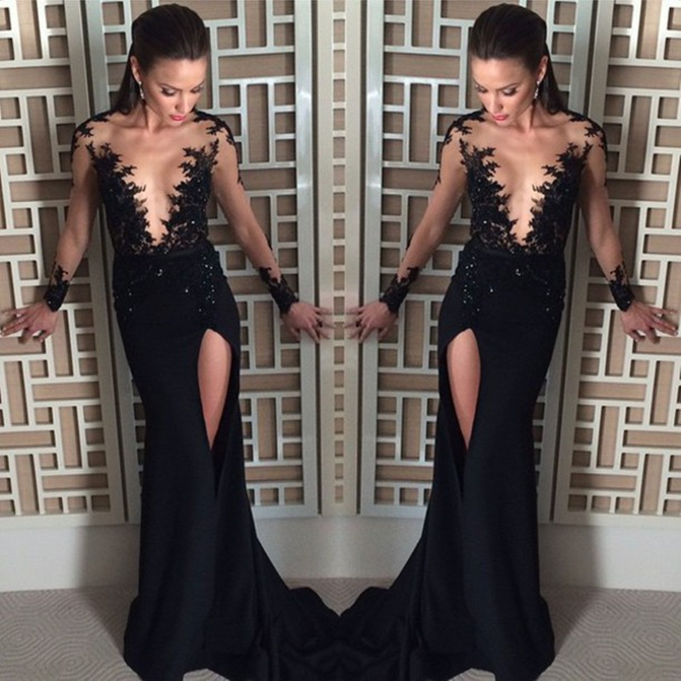 6d5f17618c7 Black Chiffon Prom Dress Sexy See Through Slit Long Prom Dresses 2016  Elegant Full Sleeve Scoop Mermaid Prom Dress Sexy Black Slit Evening Formal  Gowns Long ...