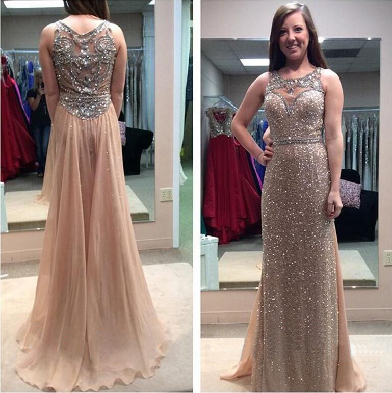 Long Gold Sequins See Through A-line Prom Party Dress Beaded Formal ...
