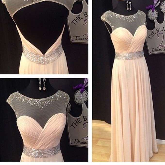 Fashion Keyhole Back Blush Prom Dress,Sexy Open Back Chiffon Party Dress,Sexy Keyhole Back Graduation Dress,A-line Beaded Evening Dress