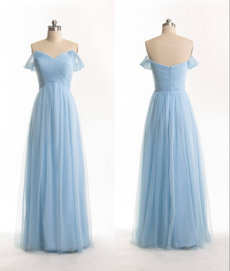 66b891fe0be4 Free Shipping Off Shoulder Sleeves Sky Blue Bridesmaid Dress