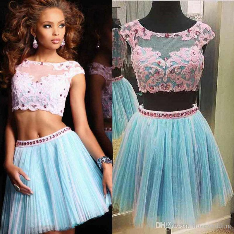 Fashion Sexy Two Pieces Lace and Tulle Cocktail Dress Occasion Party Dress