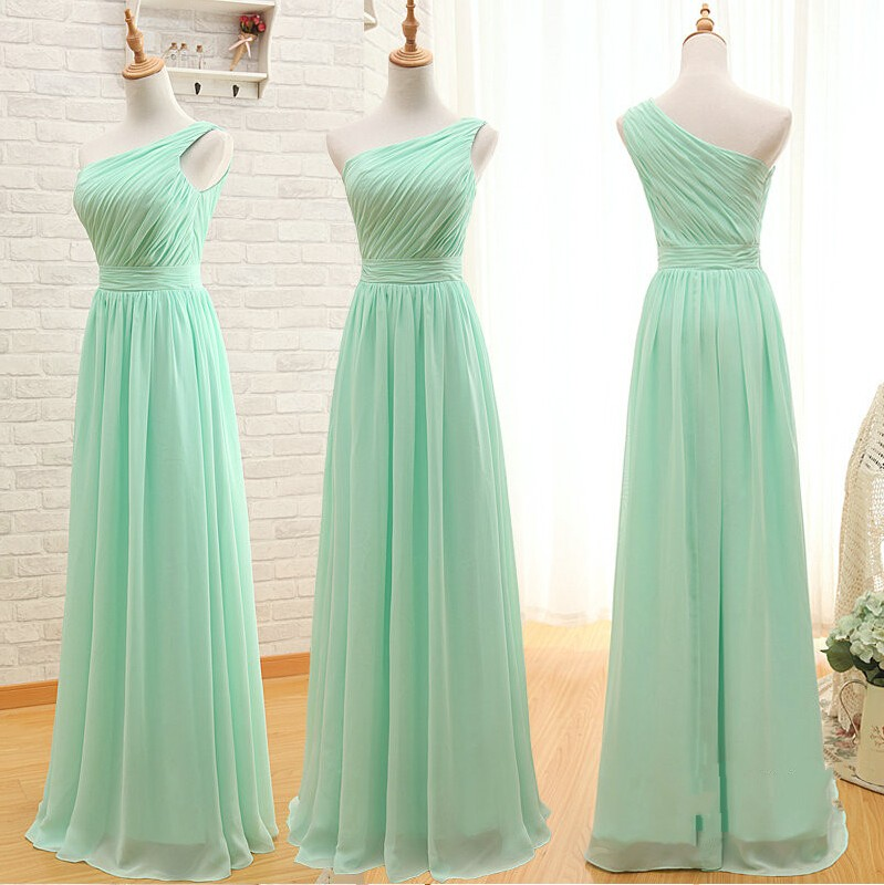 0c1fccb80cd Light Green Ruched Chiffon One-Shoulder Floor Length A-Line Formal Dress