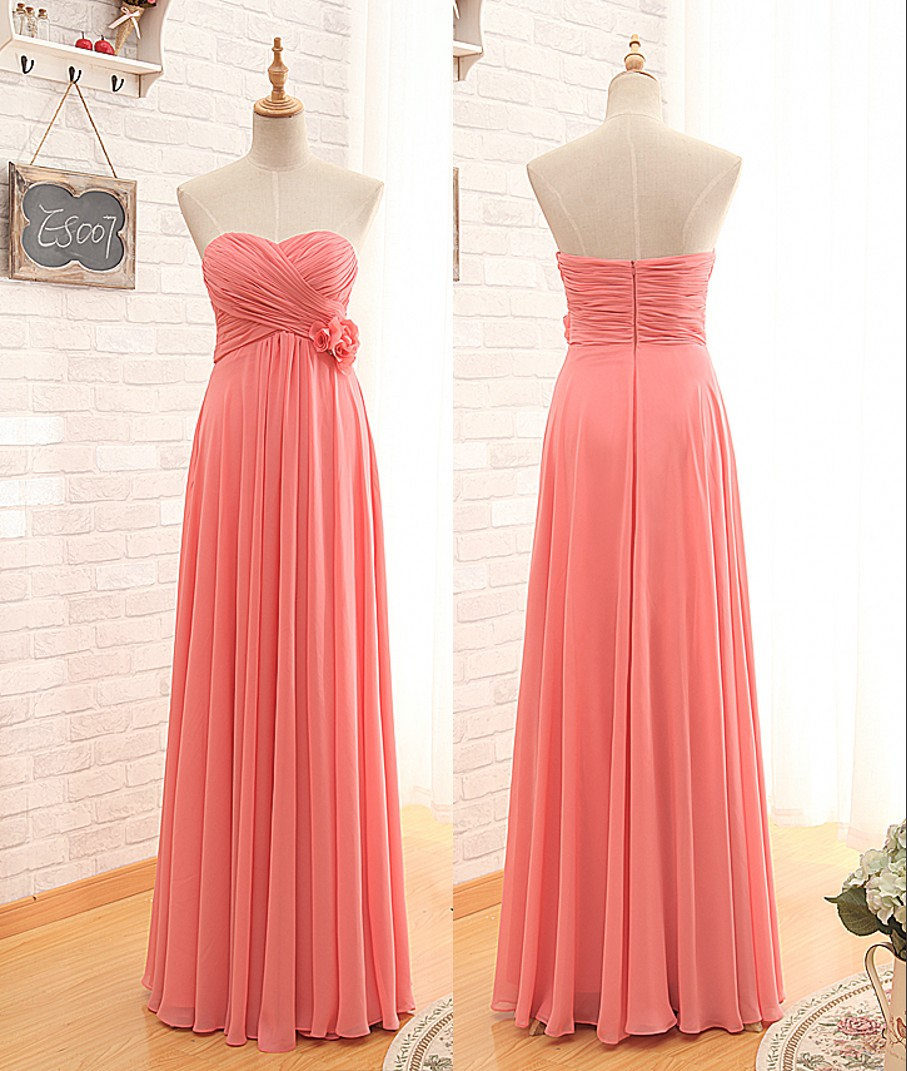 Floor Length Empire Coral Bridesmaid Dress