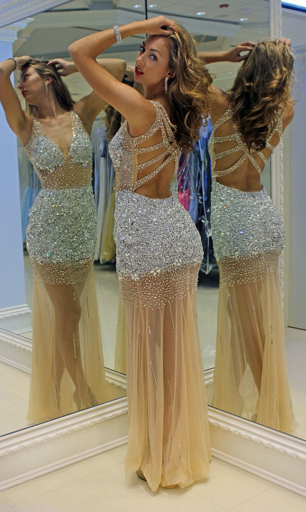 Prom Dresses Sexy Cheap Mermaid Champagne Beads Crystals Backless Prom Dress Formal Dress Evening Dress Party Prom Gowns