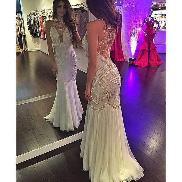 Prom Dresses Sexy Cheap Luxury Bling Mermaid Ivory Pearls Backless Prom Dress Formal Dress Evening Dress Party Prom Gowns