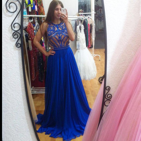 2016 Prom Dresses Luxury Sparkle Bling Royal Blue Beads Long Formal Evening Party Gowns