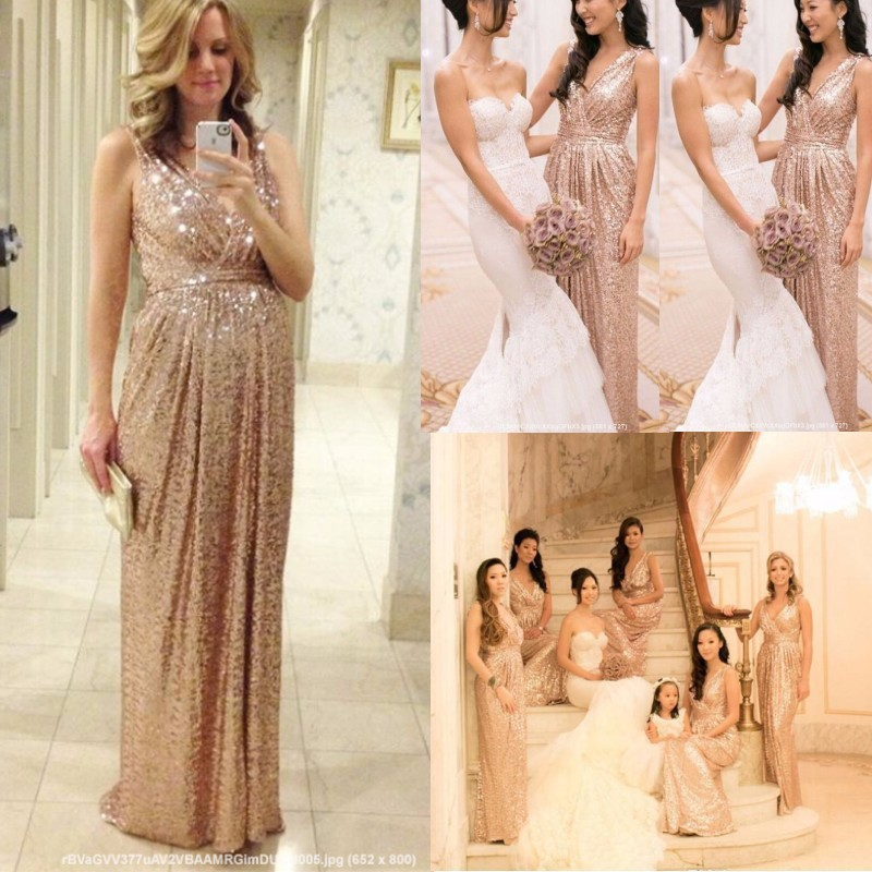Rose Gold Bridesmaids Dresses Sequins Plus Size Custom Made Maid Of