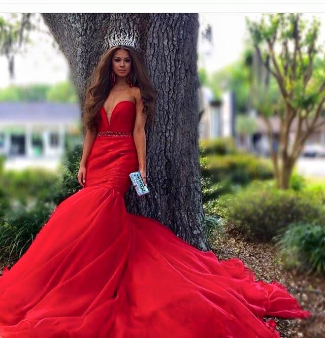 Hot Sale Evening Dresses Sweetheart Beading Red Mermaid Satin Long