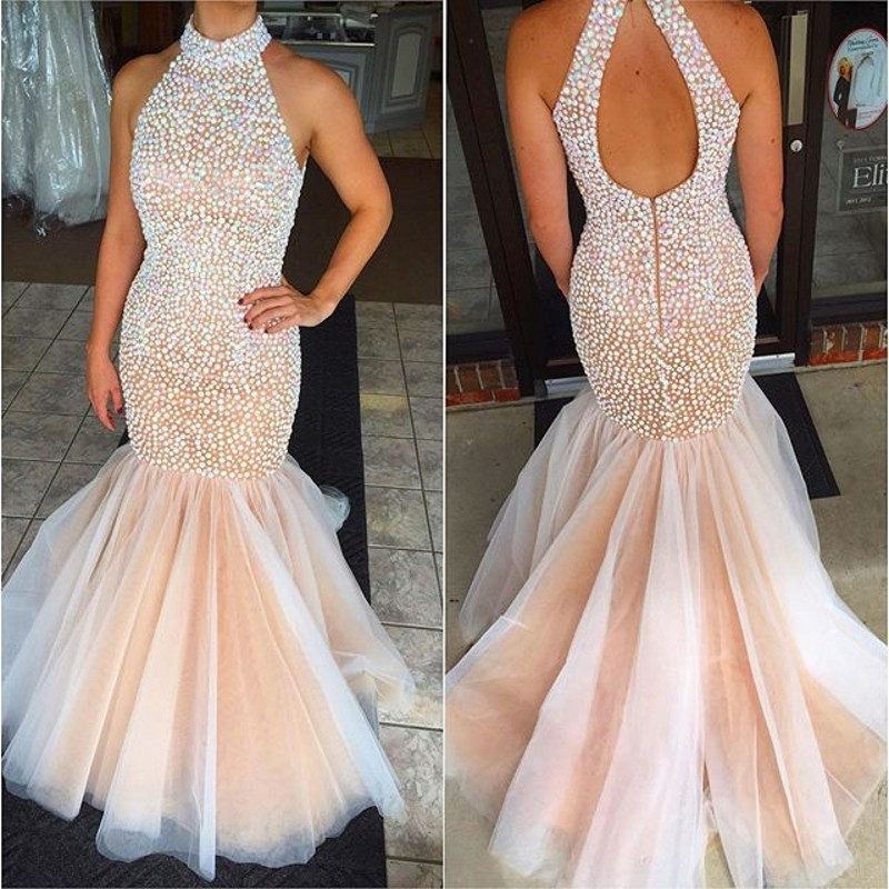 New Fashion Crystals Prom Dresses Sexy Beaded High Neck Backless Formal  Pageant Gowns Fashionable Mermaid Party 977896702