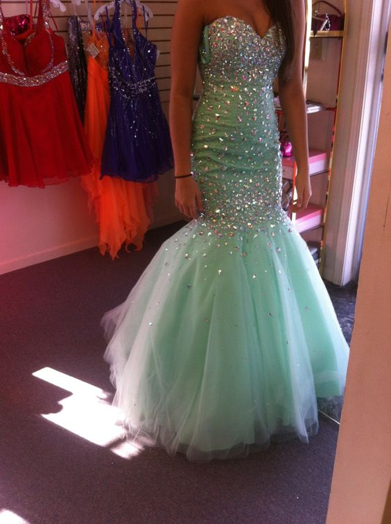 Real Iamge Prom Dresses New Elegant Cheap Mermaid Light Green Beads Crystals Rhinestones Bling Sparkle Tulle Long Formal Party Gowns