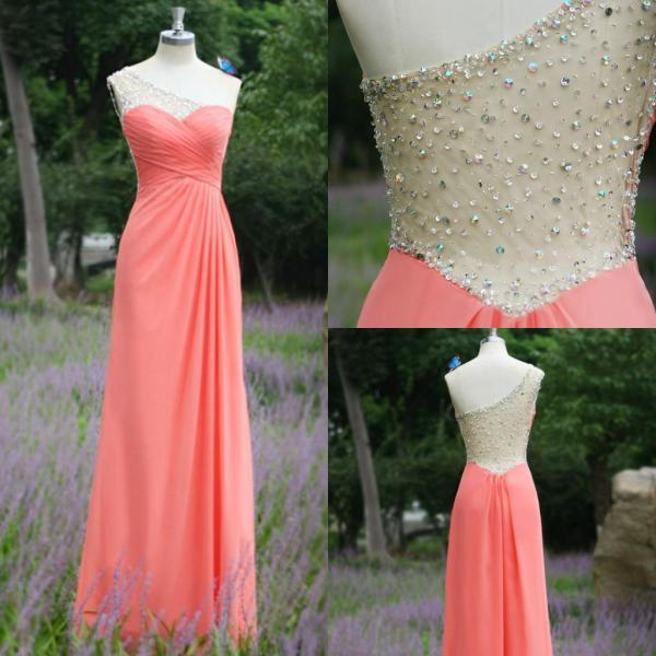 Real Image 2016 Sexy A-line Prom Dresses A-line Watermelon One Shoulder Chiffon Rhinestones Backless Formal Evening Party Gowns